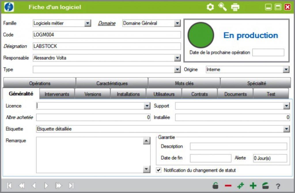gestion des équipements - fiche logiciel