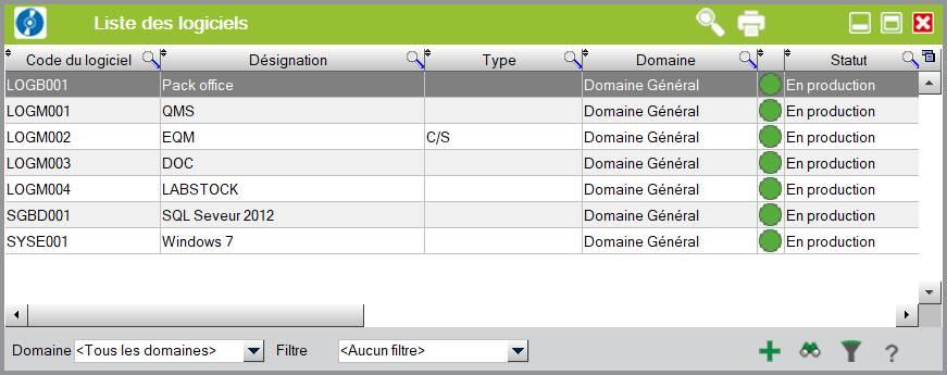 gestion des équipements - liste logiciel